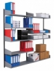 Vægskinnereol til tidskrifter 1680mm (udbygning)  inkl. 5 tidskrifthylder 900×350mm og tilhørende konsoller.