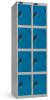 Omklædningsskabe med 4 låger. Omklædningsskabe dimension: bredde = 305mm, dybde = 460mm, højde = 1780mm. 2 sammenbyggede omklædningsskabe . Total bredde =  610 mm