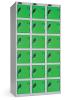 Omklædningsskabe med ialt 18 låger. Omklædningsskabe dimension: bredde = 305mm, dybde = 305mm, højde = 1780mm. 3 sammenbyggede omklædningsskabe . Total bredde =  915 mm