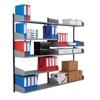 Vægskinnereol til tidskrifter 1680mm inkl. 5 tidskrifthylder 900×350mm og tilhørende konsoller.