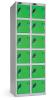 Omklædningsskabe med ialt 12 låger. Omklædningsskabe dimension: bredde = 305mm, dybde = 305mm, højde = 1780mm. 2 sammenbyggede omklædningsskabe . Total bredde =  610 mm